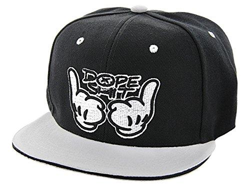 Cappellino con Visiera | Scritta Dope Shit | Grigio Nero | Taglia Unica | Regolabile | Hip Hop | Beretto | Baseball | Unisex | Ragazzi | Adulti, CAP-80-115:Cap-109 Dope Shit nero bianco