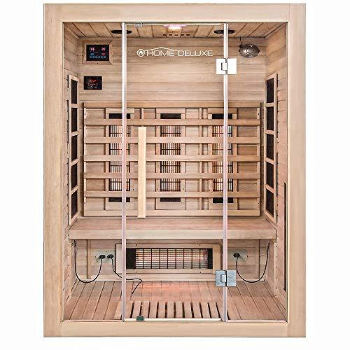 Home Deluxe – Infrarotkabine Sahara L – Vollspektrumstrahler, Holz: Hemlocktanne, Maße: 150 x 120 x 190 cm | Infrarotsauna für 2-3 Personen, Sauna, Infrarot, Kabine