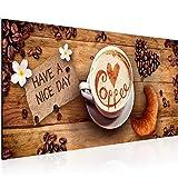 Bilder Küche Kaffee Wandbild 100 x 40 cm Vlies - Leinwand