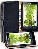 MoEx Funda Cartera [protección 360°] Compatible con Sony Xperia Z1 | Cierre magnético, Noir