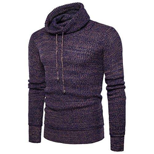 VENMO Oversize Slim-fit Muscleshirt Vintage Herren Feintrick Pullover Sweatshirt HIGH-Neck Herrenmode Winter Pullover Pullover lose Pullover Strickwaren Outwear Bluse (L, Coffee)