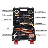 Werkzeugsatz, Universale Werkzeugkoffer 10 Stück Haushalt für Handwerkzeuge einschließlich Hammer/Kombizange/Schraubendreher/LED-Elektroschreiber/Maßband und Isolierband erreicht