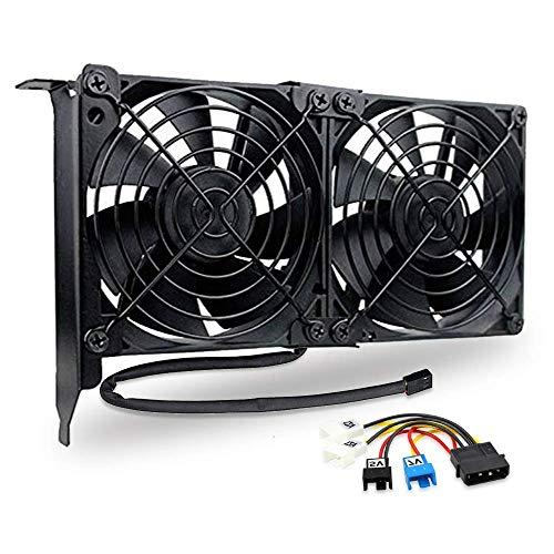 GDSTIME Ventiladores de tarjeta gráfica de 90 mm 92 mm con ranura PCI Dual GPU Ventiladores de vídeo VGA sin escobillas Ventilador de refrigeración