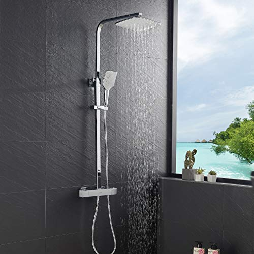 Lonheo 2 Funktionen Duschsystem mit Thermostat, Chrom Duscharmatur Thermostat Regendusche, 3 Strahlarten Handbrause und Verstellbarer Duschstange(bei Installation) 80cm-120cm, Dusche Duschset für Bad