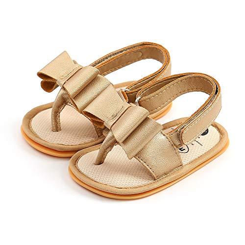 Siyova Zapatos de niña con lazo, de piel sintética antideslizante, para niño, de princesa, para niña, zapatos de paseo de oro 12-18 Meses