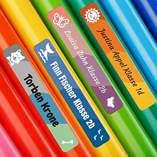 foliado® Namensaufkleber Kinder Etikett Stifte 45x7mm Sticker Namensetikett Schule Kita personalisierte Klebeetiketten wasserfest APD-099 (60)