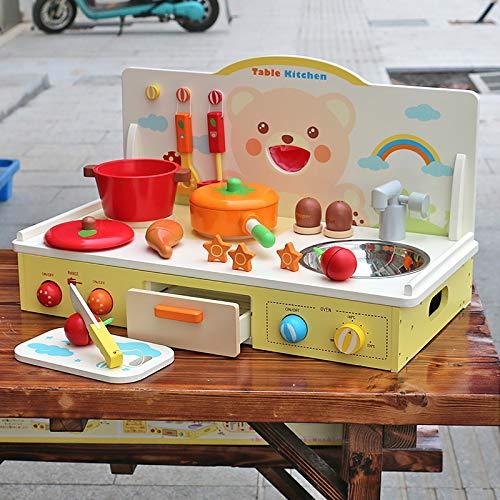 GAOXIAOMEI Cocina de Madera con Nevera y microondas con Sonido, para niños a Partir de 3 años