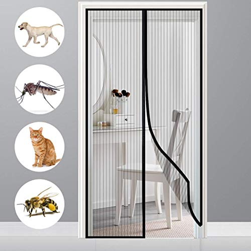 HXCD Magnetic Fly Screen Door Screen Anti Mosquito Bugs with Enhanced Magnets for Keep Bugs Fly out - Black 150x240cm(59x94inch)