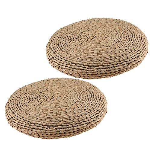 Luntus Tatami Floor Pillow Sitting Cushion,Round Room Floor Straw Mat for Outdoor Indoor Seat(15.75 inch x 2.36 inch),2 Pack