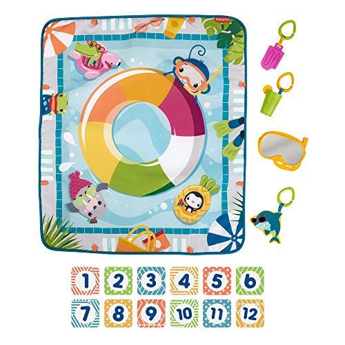 Fisher-Price Manta de actividades para bebé decorado como piscina. Incluye mordedor, espejito snorkel, sonajero limonada y tiburón que cruje (Mattel GRR44)
