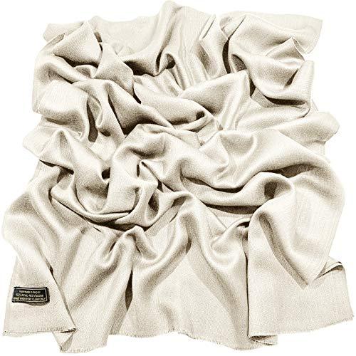 CJ Apparel CJ Apparel Off-White Normallack Design Nepalesischer Fransenschal Schal Stola Wrap Pashmina NEU