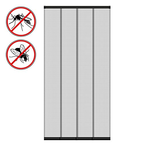 ECD Germany Insektenschutz Lamellenvorhang Türvorhang - 100 x 220 cm - individuell kürzbar - 4-teiliger Vorhang - mit randverstärkten Fiberglas-Lamellen - Fliegengitter Insektenschutz Vorhang