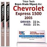 Beam Wiper Blades for 2005 Chevrolet Express 1500 Set Trico Tech Beam Blades Wipers Set Bundled with MicroFiber Interior Car Cloth