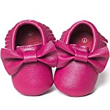 Infant Toddler Baby Girls Boys Cozy Moccasins Slippers Soft Sole Tassel Bowknot First Walkers Anti-Slip Crib Shoes (B/Rosered, 6-12 Months)