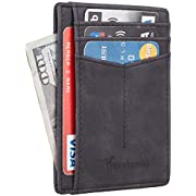 Travelambo RFID Front Pocket Minimalist Slim Wallet Genuine Leather Small Size (Young Bar Black)