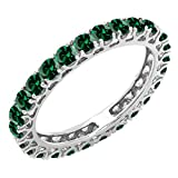 Dazzlingrock Collection 14K Round Lab Created Emerald Ladies Eternity Wedding Ring Band, White Gold, Size 6.5