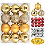 Zogin Adornos de Adornos navideños Bolas de árboles de Navidad Decoraciones para Navidad Decoración y Fiestas (Oro, 24piezas-8cm)
