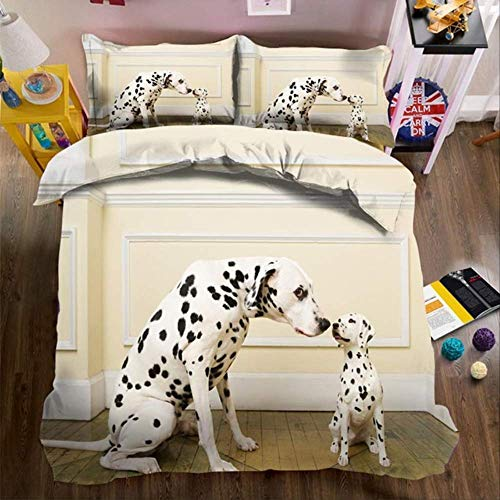 WGLG Double Bed Duvet Sets, 3D Digital Printing Cute Dog Home Textiles Animal Bed Sheet Duvet Cover And Pillowcase Single Brown