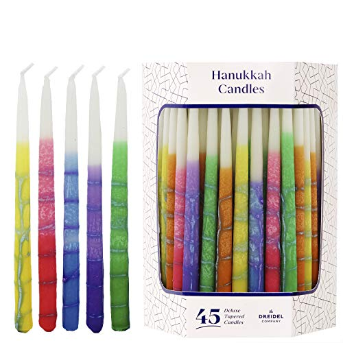 Dripless Hanukkah Candles Multicolored Striped Deluxe Tapered Decorations, Chanukkah Menorah Candles for All 8 Nights of Chanukah