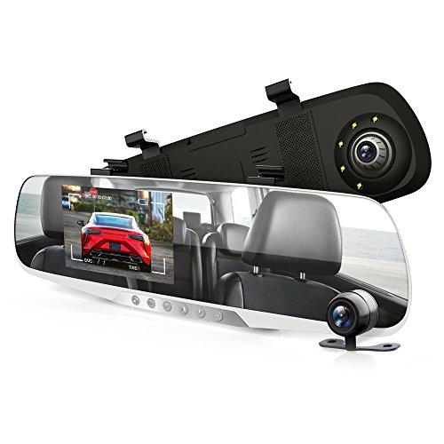 """Pyle PLCMDVR46 - Monitor de visión trasera para cámara de salpicadero (4,3"""", DVR, sistema de grabación de vídeo en Full HD, 1080p, sensor de movimiento integrado, función de grabación en bucle)"""