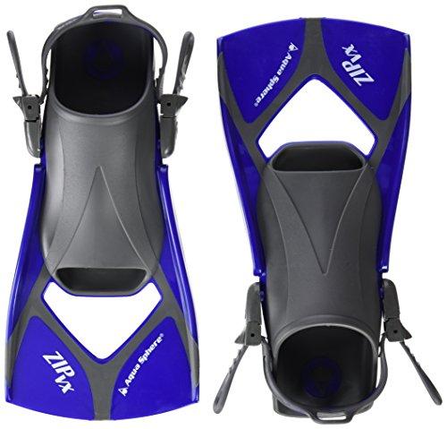 Aqua Sphere Zip VX Fitness Swim Fins, Blue/Grey, Small