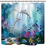 Riyidecor Dolphin Shower Curtain Underwater Algaes Coral Reefs Sunbeam Tropical Fish Marine Wildlife Ocean Animal Seabed Bathroom Decor Fabric Polyester Waterproof 72x72 Inch 12 Pack Plastic Hooks