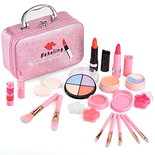 Bakeling 21 Pcs Makeup Toy Set for Kids Girls Makeup kit Real Washable Cosmetics Safe & Non-Toxic Beauty Set with Fashion Box for Party Game Halloween Christmas Birthday