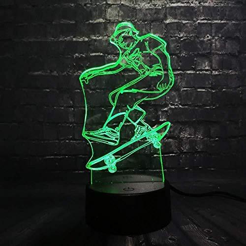 3D-Nachtlicht für Jungen mit Skateboard-Motiv, Nachtlicht, Tischdekoration, Schlafzimmer, 7 Farben wechselnd, Spielzeug, Geschenk, 3D-Optik-Lampenbücherregal