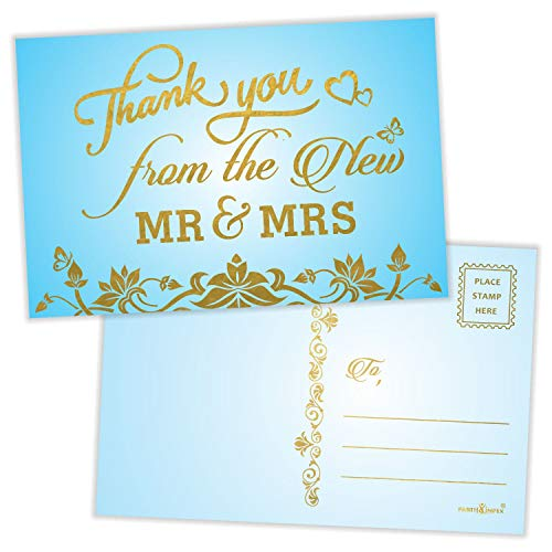 """Thank You from the New Mr. and Mrs. Postcards (Pack of 50) Gold Foil Stamping with Mailing Side 4""""x6"""" Mailable Wedding Thank You Cards - SKY BLUE"""