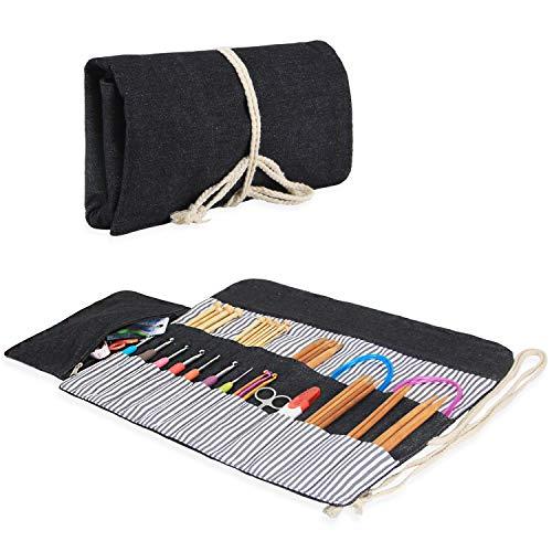 Luxja Stricknadel Aufbewahrung, Stricknadeln Tasche (bis zu 10 Zoll), Tasche für Stricknadeln, Organizer Tasche für Rundstricknadeln, (Keine Zubehör Enthalten), Schwarz
