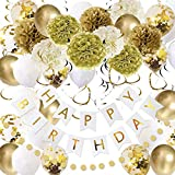 49 Pack Gold Happy Birthday Decorations for Women Grils, Gold White Birthday Decoration Set with Birthday Banner, Gold White Confetti Balloons, Paper Pom Poms, Gold Circle Dot Garland and Hanging Swirls for Women Grils kids Birthday Party Decor