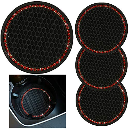 tunfo 4pcs 2.75' Bling Decor Crystal Rhinestone Car Cup Holder Coaster Insert Cup Mat,Car Bling Ring Emblem Sticker Bling Car Accessories for Home and Interior Car Decor Accessory, Red