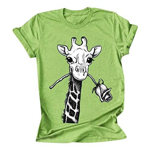 Sannysis Damen T-Shirts Sommer Lustig Giraffe Tier Gedruckt Retro Kurzarm Rundhals Oberteile Tops Womens Oversize Tee Sweatshirts (5XL, Grün)