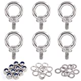 Glarks 36Pcs 304 Stainless Steel M6 Male Thread Machinery Shoulder Lifting Ring Eye Bolt with Lock Nuts/Lock Washers/Flat Washers Set