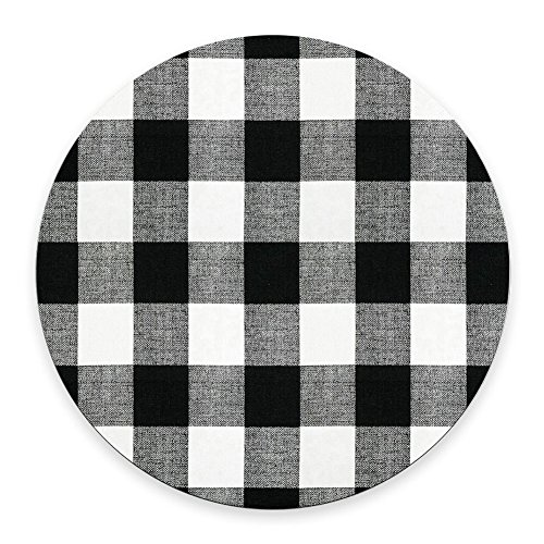 Black and Black Buffalo Check Plaids Round Mouse Pad 7.87'X7.87' 20CM