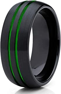 Silly Kings 8mm - Green Tungsten Wedding Band - Green Ring - Green Tungsten Ring