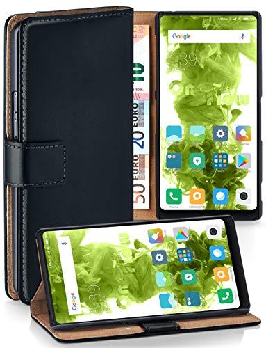MoEx Premium Book-Hülle Handytasche passend für Xiaomi Mi Mix 2S | Handyhülle mit Kartenfach & Ständer - 360 Grad Schutz Handy Tasche, Schwarz