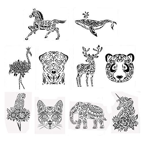 10 Plantillas Plantillas de Pintura de Animales, Pintura Stencil Animal, Tarjeta de Plantilla de Pintura, para Manualidades, Pared Decorativa de Bricolaje, Madera, Pintura Textil