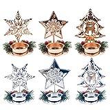 ZOYLINK 6PCS Weihnachtskerzenhalter Teelichthalter Schreibtisch Dekorative Ornament für Weihnachten
