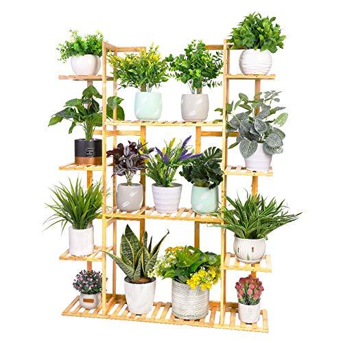Medla Pflanzenregal Bambus, Blumenregal mit 9 Ablagen mehrstöckig, EXTRA GROß Blumenständer Blumentreppe für Wohnzimmer Balkon Garten Indoor Outdoor, 123x89x19.5cm