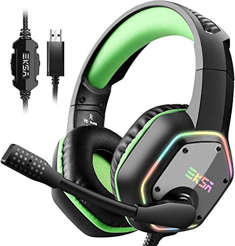 EKSA E1000 USB Gaming Headset für PC - Over Ear Headphones mit Kabel, Nosie Cancelling Mic, 7.1 Surround Sound, RGB-Licht - Gaming Kopfhörer mit Mikrofon für PS4/PS5 Konsole, Laptop -Grün