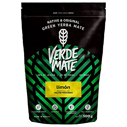 Yerba Verde Mate Green Limón | Yerba Mate Té de Brasil | Yerba mate de alta calidad | Yerba mate saborizad (500g) (Comestibles)