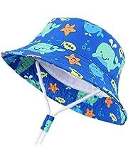 Snyemio Cappello da Sole Bambino Cotone Interno Bucket Hat con Sottogola
