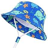 Snyemio Sombrero Pescador para Bebé Niños Primavera Verano Algodón Gorra de Protectora del Sol para Playa Viajes (Azul, 50cm/2-3 Años)