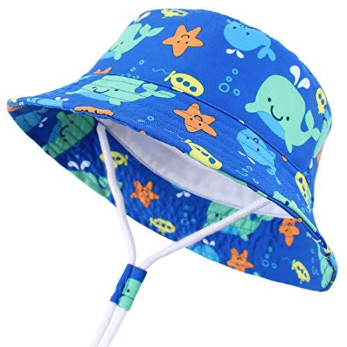 Snyemio Sombrero Niño Pescador para Bebé Primavera Verano Gorra de Protectora del Sol para Playa Viajes (Azul, 52cm)