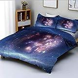 Conjunto de funda nórdica, nebulosa del espacio exterior Nube de gas y cúmulos estelares Astronomía del universo Cosmos Lámina decorativa Juego de cama de 3 piezas con 2 fundas de almohada, azul marin
