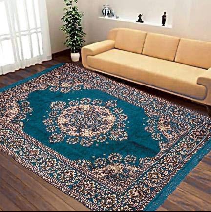 ROYAL TREND Royalking Carpets Chenille Velvet Skin Friendly Runner Rug Mat for Dining Hall Living Room (5 x 7 ft, Black)