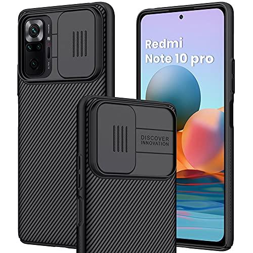 IEMY Custodia per Xiaomi Redmi Note 10 PRO 4G Slide Protezione Fotocamera Anti-Graffio Antiscivolo PC Proteggi Cover - Nero