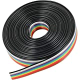risingsaplings 9.8FT 3 Meter 10 Wire Flat Ribbon Wire Rainbow Color Cable Wire 1.27mm Pitch for 2.54mm IDC…