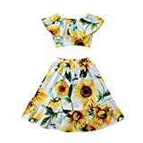 Toddler Kids Girls Crop Top Outfits Off Shoulder Tops + Sunflower Skirt Summer Clothes 2pcs Set (Sunflower,4-5T)